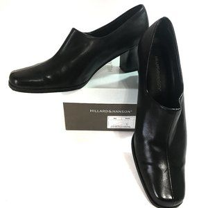 Hillard & Hanson 8.5 Tina Black Leather Heel